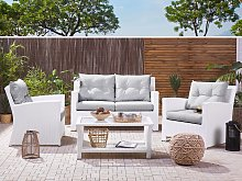 Garden Sofa Set White Faux Rattan Grey Cushions