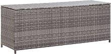 Garden Storage Box Grey 150x50x60 cm Poly Rattan -