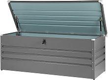 Garden Storage Box Grey Steel Lockable Lid 600L