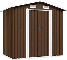 Garden Storage Shed Brown 204x132x186 cm Steel -