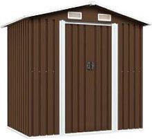 Garden Storage Shed Brown 204x132x186 cm Steel
