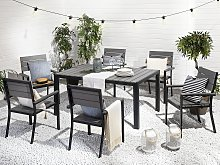 Garden Table Grey and Black Aluminium for 6