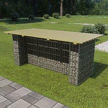 Garden Table with Steel Gabion 180x90x74 cm