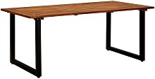 Garden Table with U-shaped Legs 180x90x75 cm Solid