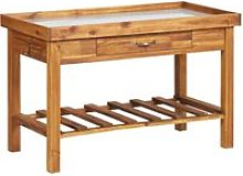 Garden Work Bench with Zinc Top Solid Acacia Wood
