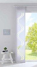 Gardinenbox Panel Curtain Sliding Curtain Burnout Quality Modern with Wave Pattern Transparent Panel Weight Bar 100% Polyester Grey H 245 x W 45 cm
