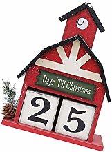 Garneck Christmas Desk Calendar Block Holiday Wood