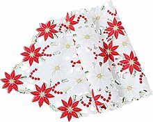 Garneck Christmas Table Runners Poinsettia Holly