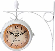 Garneck Double Sided Wall Clock Round Wall Hanging