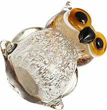 GARNECK Glass Owl Animal Figurine Mini Glass Owl