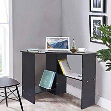 Garonare Black Corner Desk, Modern Minimalist Desk