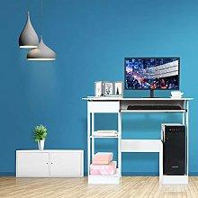 Garonare White Desk, Laptop Table with Storage,