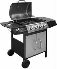 Gas Barbecue Grill 4+1 Cooking Zone Black and