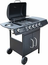 Gas Barbecue Grill 4+1 Cooking Zone Black - Black