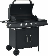 Gas Barbecue Grill 4+1 Cooking Zone Black Steel -