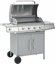 Gas Barbecue Grill 4+1 Cooking Zone Silver -
