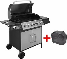 Gas Barbecue Grill 6+1 Cooking Zone Black and