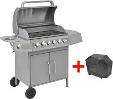 Gas Barbecue Grill 6+1 Cooking Zone Silver -