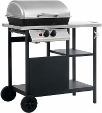 Gas BBQ Grill with 3-layer Side Table Black and