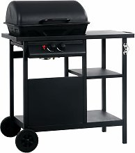 Gas BBQ Grill with 3-layer Side Table Black -