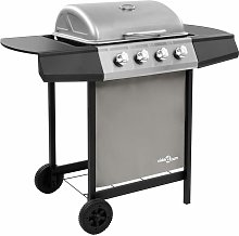 Gas BBQ Grill with 4 Burners Black and Silver
