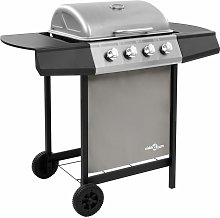 Gas BBQ Grill with 4 Burners Black and Silver -