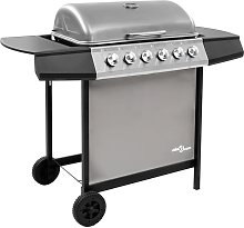 Gas BBQ Grill with 6 Burners Black and Silver