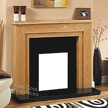 Gas Electric Oak Wood Surround Black Granite