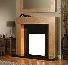 Gas or Electric Fire Oak Surround Black Granite