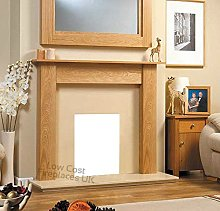 Gas or Electric Oak Wood Surround Cream Marble