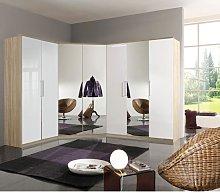 Gastineau Corner Wardrobe In Oak With Pearl White