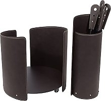 Gavemo Fireplace set 3 pieces in leather and Steel