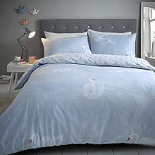 Gaveno Cavailia Blue Marble Swan Flannel Duvet Set