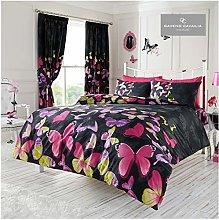GAVENO CAVAILIA Premium Butterfly Duvet Cover, Reversible Quilt Bedding Set, Luxury Bedroom Accessory, Black, Double, Polycotton