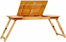 GAXQFEI Bamboo Bed Table Laptop Desk with Drawer