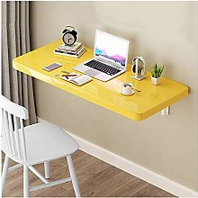 GAXQFEI Floating Desk for Wall, Yellow Wall