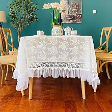 GAXQFEI Floral Embroidered Lace Tablecloth with