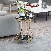 GAXQFEI Metal End Table, Sofa Table Small Round