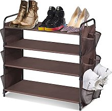 GAXQFEI Shoe Rack 4 Tier Closet Shoe Rack with 12