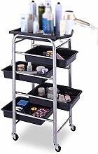 GAXQFEI Silver Salon Shelf Trolley with 4 Trays -