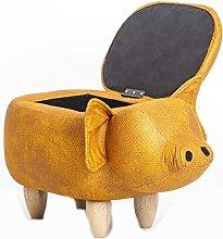 GAXQFEI Small Wooden Bench Storage Stool,Piglet