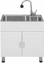 GAXQFEI Upgraded Kitchen Sink Freestanding Utility