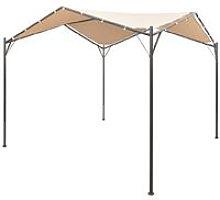 Gazebo Pavilion Tent Canopy Steel Beige 3x3 m -