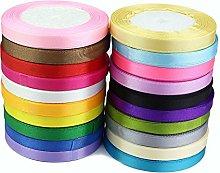 GCS 10mm Satin Ribbon - Set of 20 Colours - 25