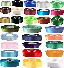 GCS 10mm Satin Ribbon - Set of 25 Colours - 25