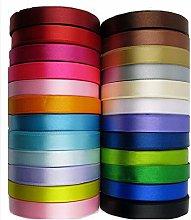 GCS 12mm Satin Ribbon - Set 25 Colours - 25 Yards