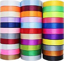 GCS 25mm Satin Ribbon - Set of 20 Colours - 25