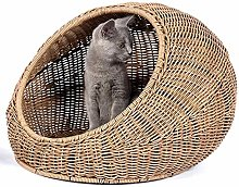 GCSEY Wicker Cat Bed Dome for Medium Indoor Cats - a Covered Cat Hideaway Hut of Rattan Houses Pets in Dome Basket, Washable