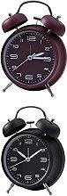 GDEVNSL 2pcs Wind Up Alarm Clock Double Bell
