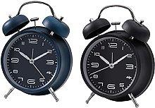 GDEVNSL 2pcs Wind Up Alarm Clock Dual Bell
